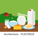 farm landscape with cows and... | Shutterstock .eps vector #513270010