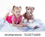 blond girl child reading a... | Shutterstock . vector #513271600