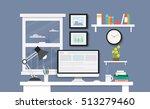 modern desk with computer set ... | Shutterstock .eps vector #513279460