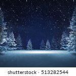 free area in winter snowy woods, blue seasonal landscape background 3D illustration