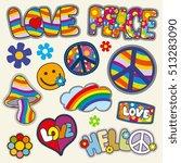 vintage hippie patches set. set ... | Shutterstock . vector #513283090