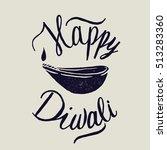 happy diwali lamp calligraphy.   Shutterstock .eps vector #513283360