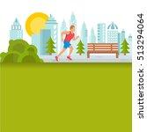 flat design sport and fitness... | Shutterstock . vector #513294064