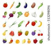 cartoon fruit and vegetables... | Shutterstock . vector #513298096