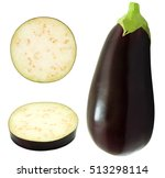 Set Of Fresh Whole Eggplant An...