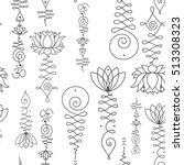 unalome   lotus sacred simbols... | Shutterstock .eps vector #513308323