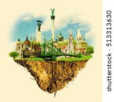 budapest city on floating land... | Shutterstock .eps vector #513313630