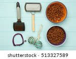 Stock photo pet accessories on wooden background 513327589