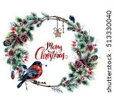 watercolor boho christmas... | Shutterstock . vector #513330040