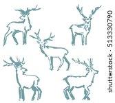 christmas deer. a set of... | Shutterstock .eps vector #513330790