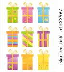 set of 9 colorful gifts icons | Shutterstock .eps vector #51333967