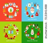 merry christmas concepts set.... | Shutterstock .eps vector #513341488