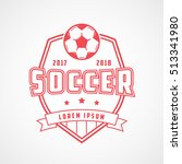 soccer emblem red line icon on... | Shutterstock .eps vector #513341980