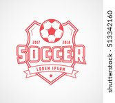 soccer emblem red line icon on... | Shutterstock .eps vector #513342160