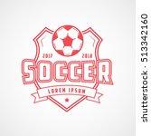 soccer emblem red line icon on... | Shutterstock .eps vector #513342160