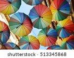 colorful umbrellas in the sky   ... | Shutterstock . vector #513345868