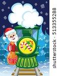 Santa Goes By Train With Bag O...