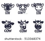 set of funny cow head logo... | Shutterstock .eps vector #513368374