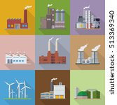 factories and power plants flat ... | Shutterstock .eps vector #513369340