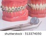dentist demonstration teeth... | Shutterstock . vector #513374050