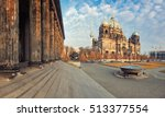 Stock photo berlin cathedral or berliner dom on a bright afternoon in fall from the steps of altes museum 513377554