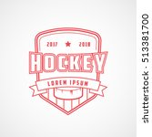 hockey emblem red line icon on... | Shutterstock .eps vector #513381700