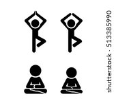 yoga icon in silhouette style ... | Shutterstock .eps vector #513385990