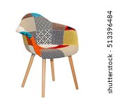 modern textile chair in... | Shutterstock . vector #513396484