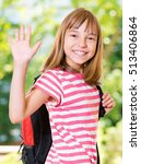 smiling girl 10 11 year old... | Shutterstock . vector #513406864