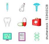healing icons set. cartoon... | Shutterstock .eps vector #513410128
