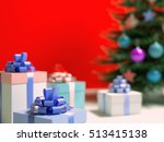 real christmas tree with gifts... | Shutterstock . vector #513415138