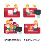 girl on a sofa. staying at home.... | Shutterstock .eps vector #513426910