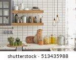 white tiles wall modern kitchen ... | Shutterstock . vector #513435988