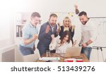 happy business people celebrate ... | Shutterstock . vector #513439276
