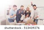 happy business people celebrate ... | Shutterstock . vector #513439276