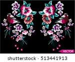 embroidery ethnic flowers neck... | Shutterstock .eps vector #513441913