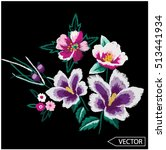 embroidery ethnic flowers neck... | Shutterstock .eps vector #513441934