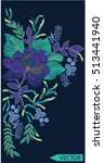 embroidery ethnic flowers neck... | Shutterstock .eps vector #513441940