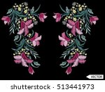 embroidery ethnic flowers neck... | Shutterstock .eps vector #513441973
