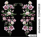 embroidery ethnic flowers neck... | Shutterstock .eps vector #513442018