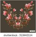 embroidery ethnic flowers neck... | Shutterstock .eps vector #513442114