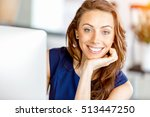 portrait of businesswoman... | Shutterstock . vector #513447250