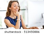 young businesswoman sitting at... | Shutterstock . vector #513450886