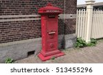 an old dutch red letter box | Shutterstock . vector #513455296