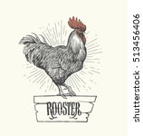 rooster in graphic style  hand... | Shutterstock .eps vector #513456406