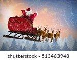 santa claus riding on sleigh... | Shutterstock . vector #513463948