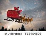 santa claus riding on sleigh...