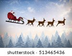 Side View Of Santa Claus Ridin...