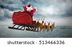 Santa Claus Riding On Sleigh...