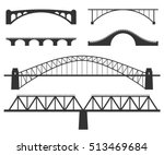 Stock vector bridges silhouette set of vector illustrations isolated on white various constructions of bridges 513469684